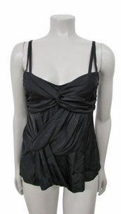 Nanette Lepore Ruched Detail Sleeveless Silk Size2 Top Black