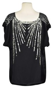 Nanette Lepore Womens Silk Sequined Casual Shirt Top Black, Pewter