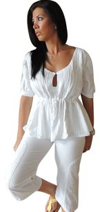 Lirome Bohemian Western Boho Chic Top White