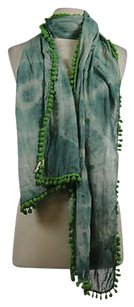 Natural Life Natural Life Womens Blue Gra White Green Scarf Os Cotton Tie Dye