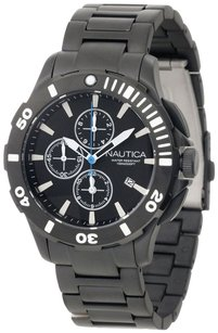 Nautica Nautica BFD 101 N23536G Men's Black Ion Plated Steel Chronograph Watch