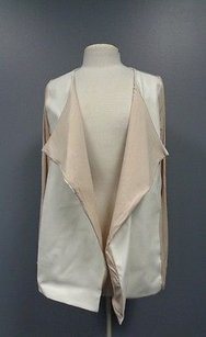 Neiman Marcus Long Sleeve Viscose Blend Sma8597 White And Tan Jacket