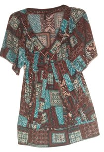 New Directions Top min/ turquoise/ brown/off white