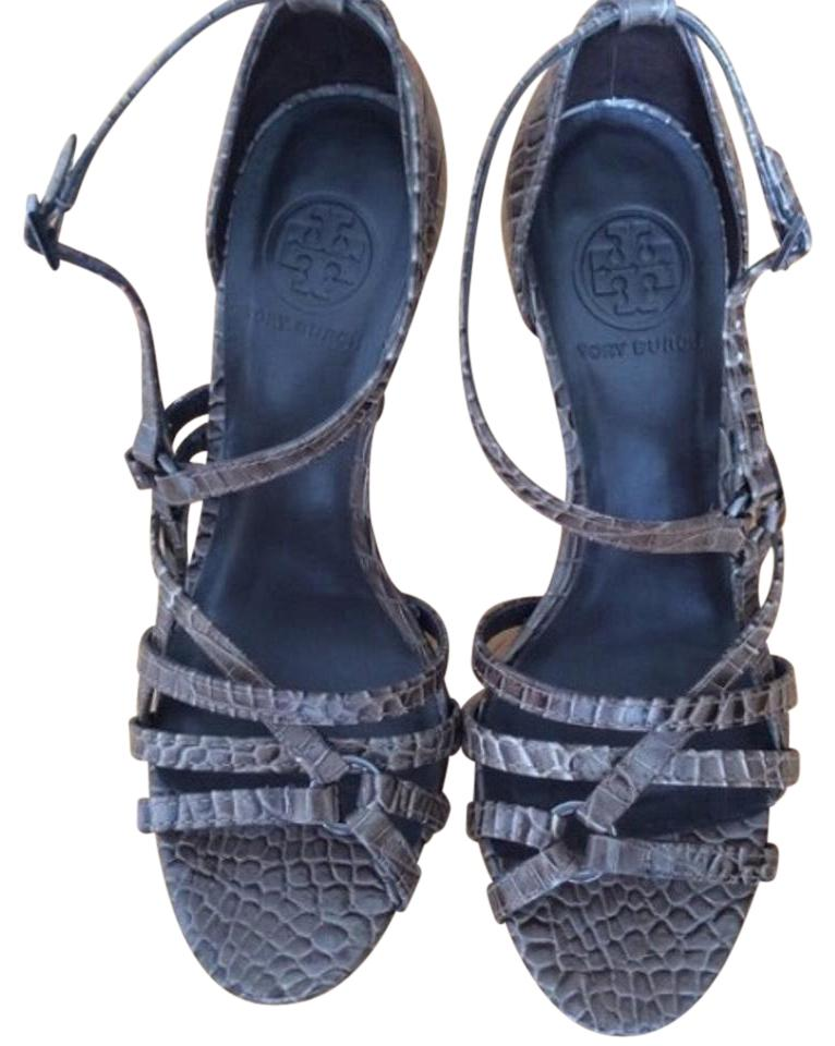 New Tory Burch high heel Croc Leather print strappy sandals