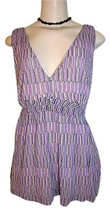 New York & Company Co Gray Geometric Print Sleeveless Ruched Waist Mesh Top Purple
