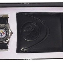 NFL Team Apparel NFL Pittsburgh Steeler Game Time Analog Watch & Bifold Wallet Gift Set Brand New
