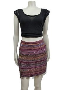 Nicole Miller Silk Artelier Mini Skirt Multi-Color