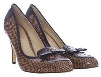 Nicole Miller New York Leather Patent Leather Woven Oxford Two-tone Black and Tan Pumps