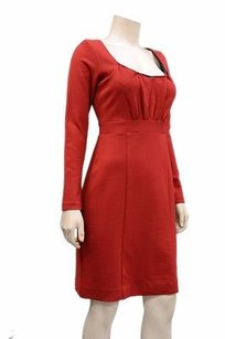 Nicole Miller short dress brick red Scoop Pleated Neck Knit Shift 130872bjb on Tradesy