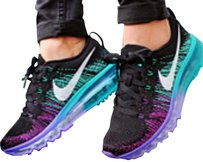 Nike Running Nike Flyknit Air Max - ON SALE - BRAND NEW - Black, Venom Purple, Turbo Green - Women's Size 9 Athletic