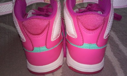 Nike Air Force One Dunk Fitsole Running Sneaker Pink, White & Green Athletic