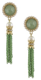 NilouPDX Pearl Post Chain Tassel Earrings MINT
