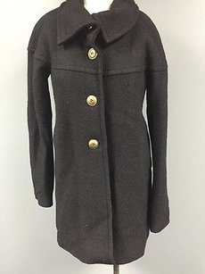 Nine West Wool Blend Long Button Down Casual Basic Winter 1871a Coat