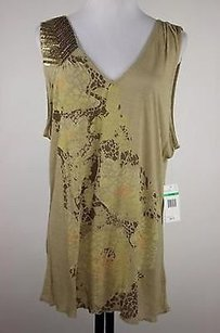 Nine West Womens Brown Floral Knit Shirt Rayon Sleeveless Top Multi-Color