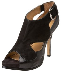 Nine West Cut-out Suede Platform Buckle Black Pumps