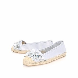Nine West Belshe Embellished SILVER NATURAL Flats