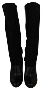 Nine West Womens Solid Leather Knee High Side Zipper Black Boots