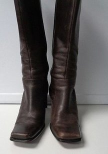 Nine West Edgy Square Toe Zip Up Synthetic Blend B3242 Dark Brown Boots