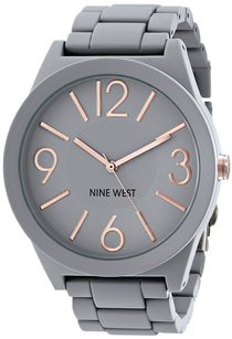 Nine West Nine West Women's NW/1678GYRG Gray Rubberized Watch with Link Bracelet
