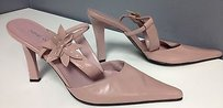 Nine West Leather Toe Floral Top Accented Sling Backs B3233 Pink Pumps