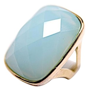 No Label Blue,Chalcedony,Faceted,Cushion,Cut,Ring,W14k,Bezel-,
