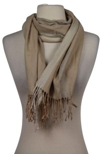 Nordstrom Nordstrom Womens Beige Taupe Striped Scarf One 100 Silk Outer Fringe