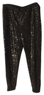 Nordstrom Trouve Sequin Free People Relaxed Pants Black