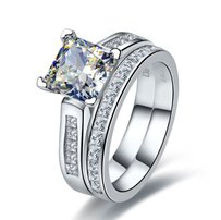 Certified Band Auth Sona 2 Ct Square Simulated Moissanite Single Solitaire Engagement Bridal Ring Pt950 Certified Band