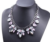 NWOT NWOT Crystal Teardrop Statement Necklace in Dark Metal