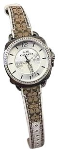 NWT COACH WOMENS BOYFRIEND 36mm LEATHER SILVER/SIGNATURE KHAKI WATCH 14502416 FS
