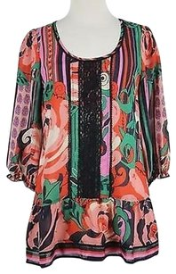 Odille Womens Pink Floral Tunic