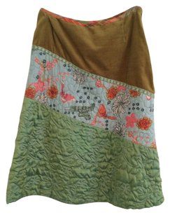Oilily Quilted Skirt olive green, aqua, pink, fuchsia, moss green