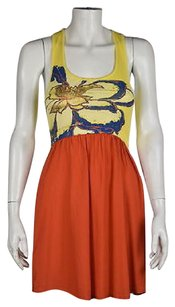 Olive + Oak Amp Womens Yellow Sheath Silk Floral Sleeveless Casual Dress