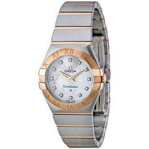 Omega Constellation Brushed Quartz White Mother of Pearl Dial Ladies Watch