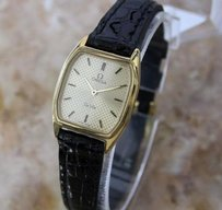 Omega Ladies Swiss Omega Deville Gold-plated Push Button Leather Quartz Rx346