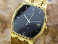 Omega Mens Swiss Omega Seamaster Gold Plated Precision Quartz Dress Watch C1980 Eb151