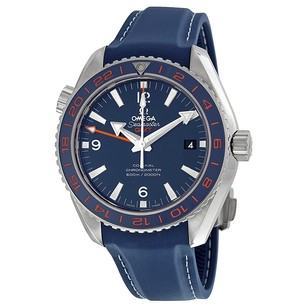 Omega Seamaster Planet Ocean GMT Blue Dial Leather Men's Watch