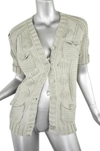 Oscar de la Renta Womens Silk Linen Knit Cardigan Sweater