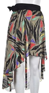 Oscar de la Renta Womens Printed Wrap Bathing Suit Cover Up Skirt Black