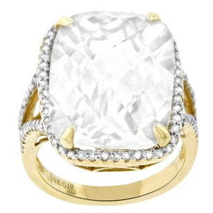 0.45ct Diamond 14k Yellow Gold And White Topaz Cocktail Ring 5-8