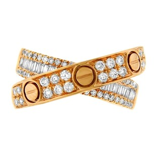 Other 0.86ct Diamond 18k Rose Gold Cross Over Ring