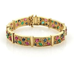 10.35ct Multi-color Gems Diamonds 14k Yellow Gold Bar Link Bracelet