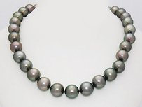 10.3mm Tahitian Pearls 14k White Gold Strand Necklace N35