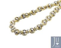10k Two-tone Gold 7mm Wide Mariner Ball O-ring Puff Link Chain Necklace Inch