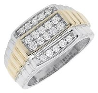 10k Two-tone Gold Four Rows Diamond Step Shank Wedding Band Ring 0.50ct.