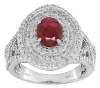 10K White Gold 1.30ct Oval Ruby with 1.25ctw Round Diamond Ring Sz6