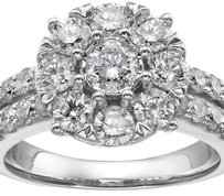 10k White Gold 2 Diamond Round Cluster Engagement Ring (2 1/2cttw, I-J Color, I2-I3 Clarity), Size 7