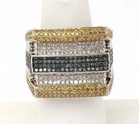 10k White Gold 2ctw Fancy Color White Diamond Ladies Wide Band Ring
