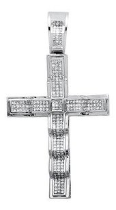 10k White Gold 3.5 Square-conical-shape Princess-set Diamond Cross Pendant 6ct