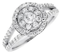 10k White Gold Double Halo Split Shank Genuine Diamond Engagement Ring 1.0ct.